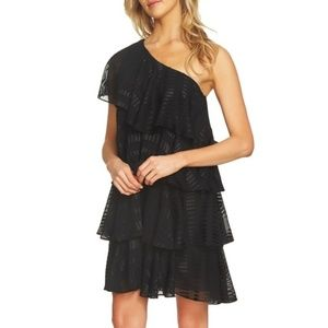 Cece /// One Shoulder Tiered Black Ruffle Dress
